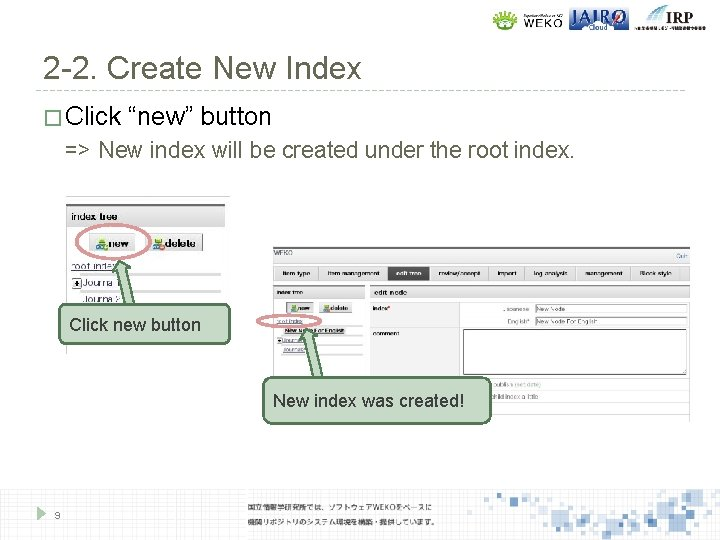 """2 -2. Create New Index � Click """"new"""" button => New index will be"""