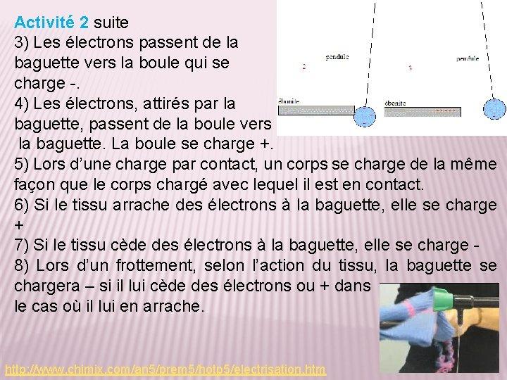 Activité 2 suite 3) Les électrons passent de la baguette vers la boule qui