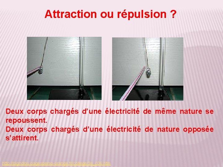 Attraction ou répulsion ? Deux corps chargés d'une électricité de même nature se repoussent.