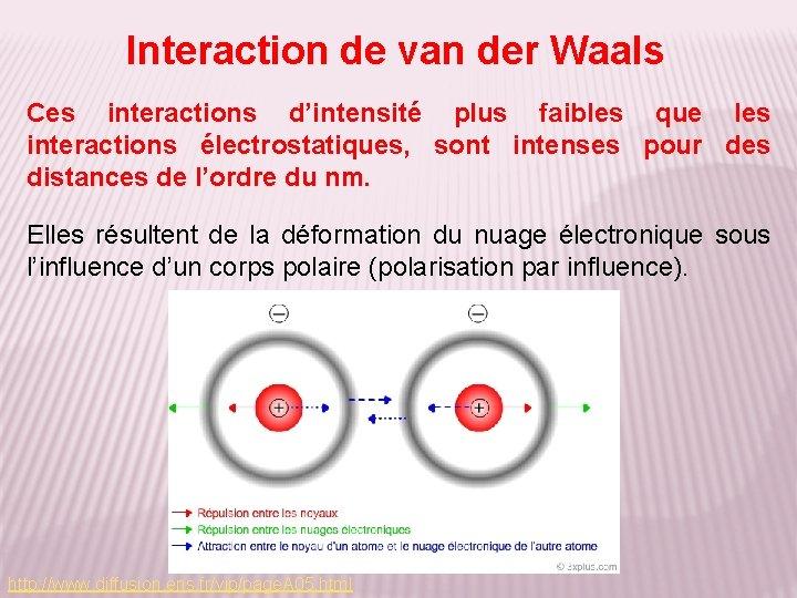 Interaction de van der Waals Ces interactions d'intensité plus faibles que les interactions électrostatiques,