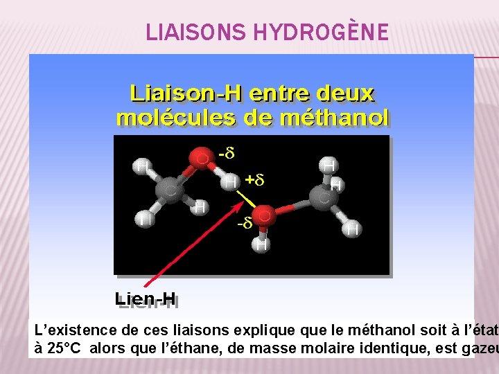 LIAISONS HYDROGÈNE L'existence de ces liaisons explique le méthanol soit à l'état 34 à