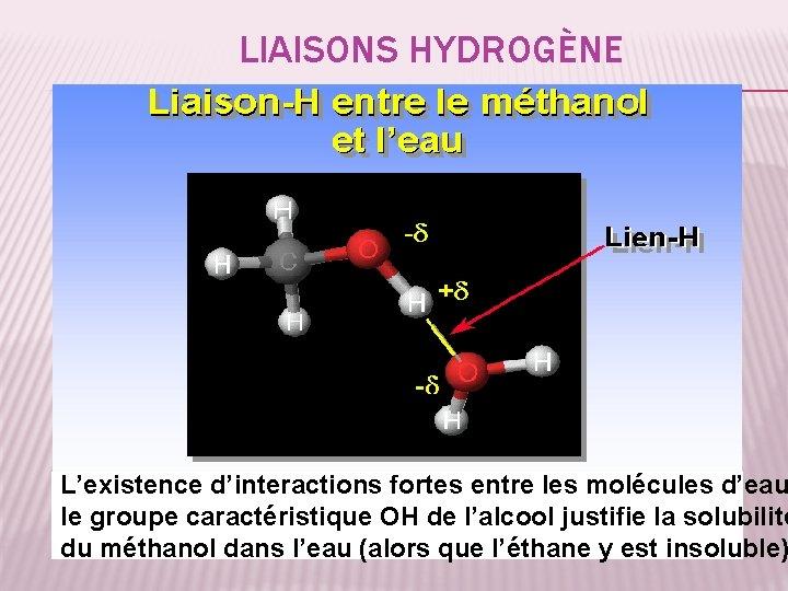 LIAISONS HYDROGÈNE L'existence d'interactions fortes entre les molécules d'eau le groupe caractéristique OH de