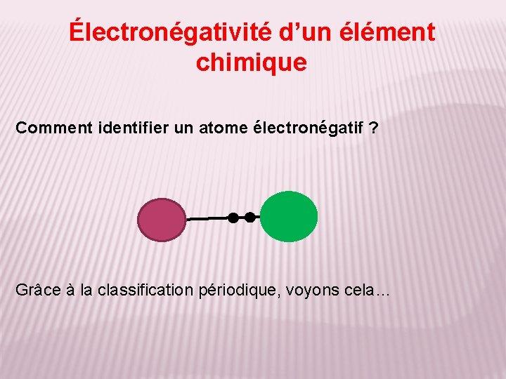 Électronégativité d'un élément chimique Comment identifier un atome électronégatif ? Grâce à la classification