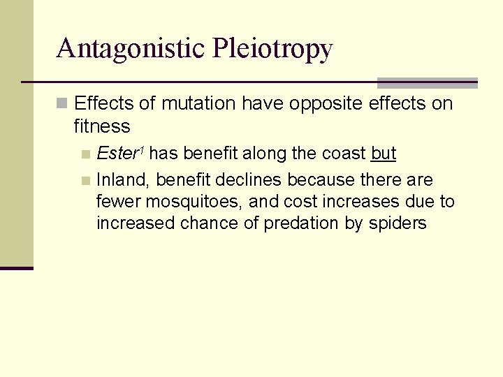 Antagonistic Pleiotropy n Effects of mutation have opposite effects on fitness Ester 1 has