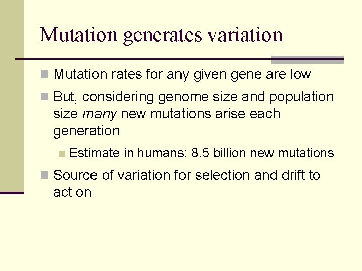Mutation generates variation n Mutation rates for any given gene are low n But,