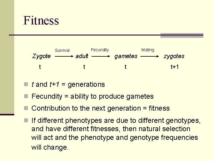 Fitness Fecundity Survival Zygote t adult t Mating gametes zygotes t t+1 n t