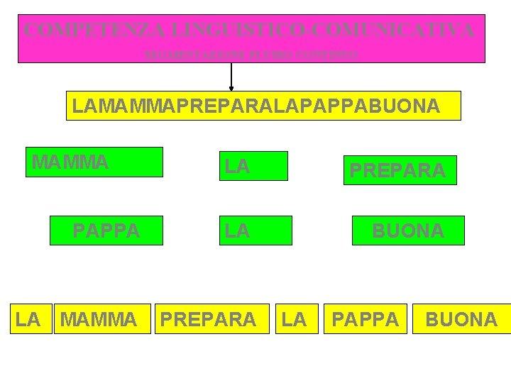 COMPETENZA LINGUISTICO-COMUNICATIVA SEGMENTAZIONE FLUSSO CONTINUO LAMAMMAPREPARALAPAPPABUONA MAMMA PAPPA LA MAMMA LA PREPARA LA BUONA