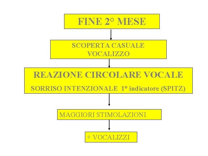 FINE 2° MESE SCOPERTA CASUALE VOCALIZZO REAZIONE CIRCOLARE VOCALE SORRISO INTENZIONALE 1° indicatore (SPITZ)