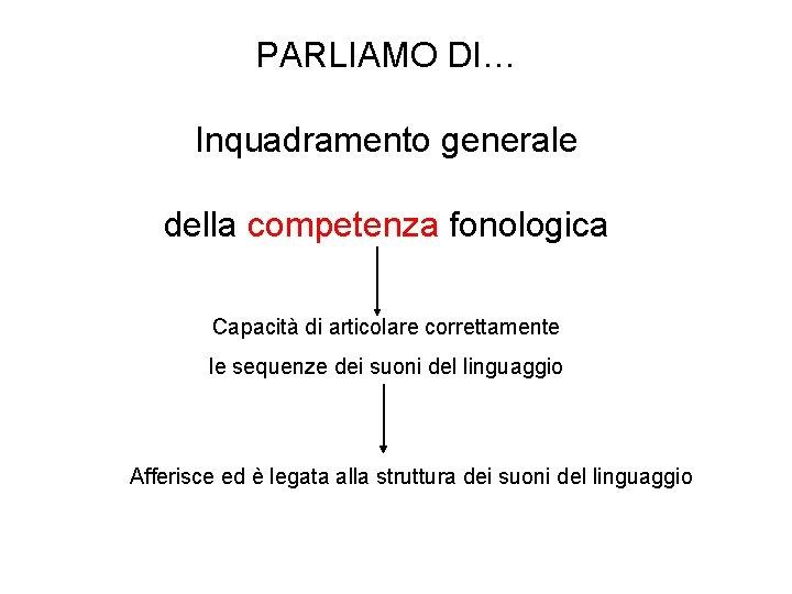 PARLIAMO DI… Inquadramento generale della competenza fonologica Capacità di articolare correttamente le sequenze dei