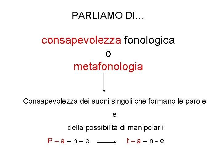 PARLIAMO DI… consapevolezza fonologica o metafonologia Consapevolezza dei suoni singoli che formano le parole