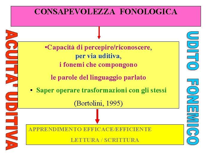 CONSAPEVOLEZZA FONOLOGICA • Capacità di percepire/riconoscere, per via uditiva, i fonemi che compongono le