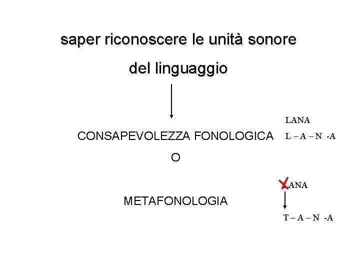 saper riconoscere le unità sonore del linguaggio LANA CONSAPEVOLEZZA FONOLOGICA L – A –
