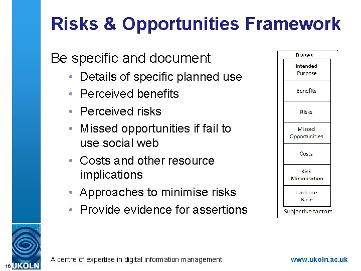 Risks & Opportunities Framework Be specific and document • • Details of specific planned