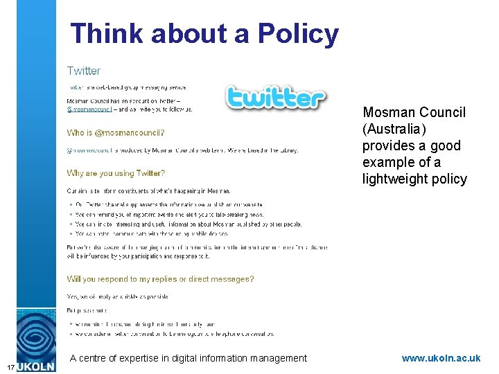 Think about a Policy Mosman Council (Australia) provides a good example of a lightweight