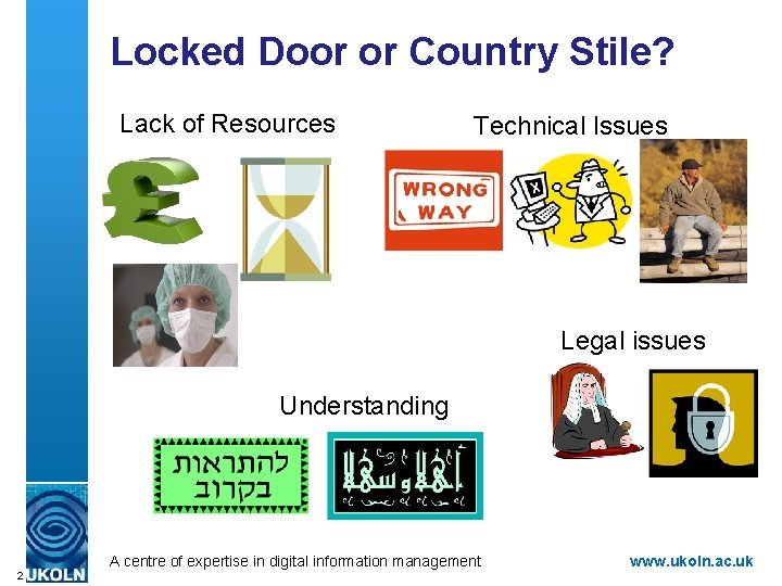 Locked Door or Country Stile? Lack of Resources Technical Issues Legal issues Understanding A