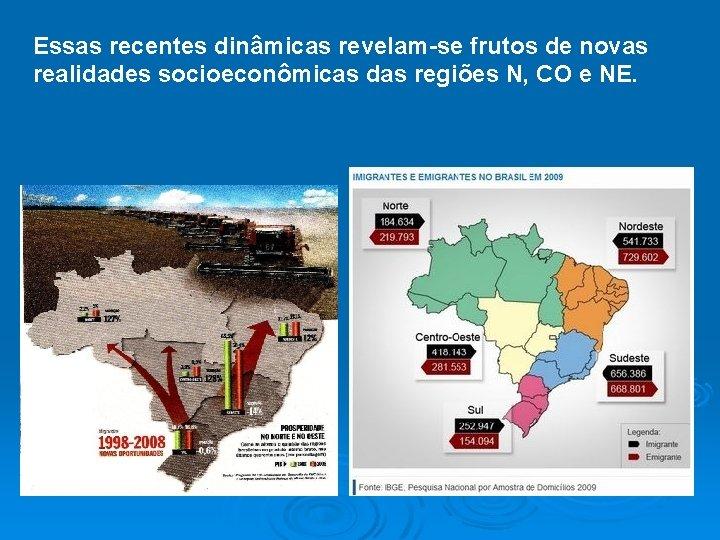 Essas recentes dinâmicas revelam-se frutos de novas realidades socioeconômicas das regiões N, CO e