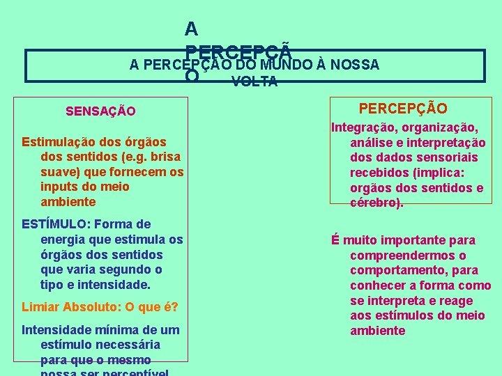 A PERCEPÇÃO DO MUNDO À NOSSA O VOLTA SENSAÇÃO Estimulação dos órgãos dos sentidos