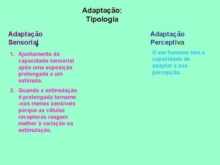 Adaptação: Tipologia Adaptação Sensorial ▼ 1. Ajustamento da capacidade sensorial após uma exposição prolongada