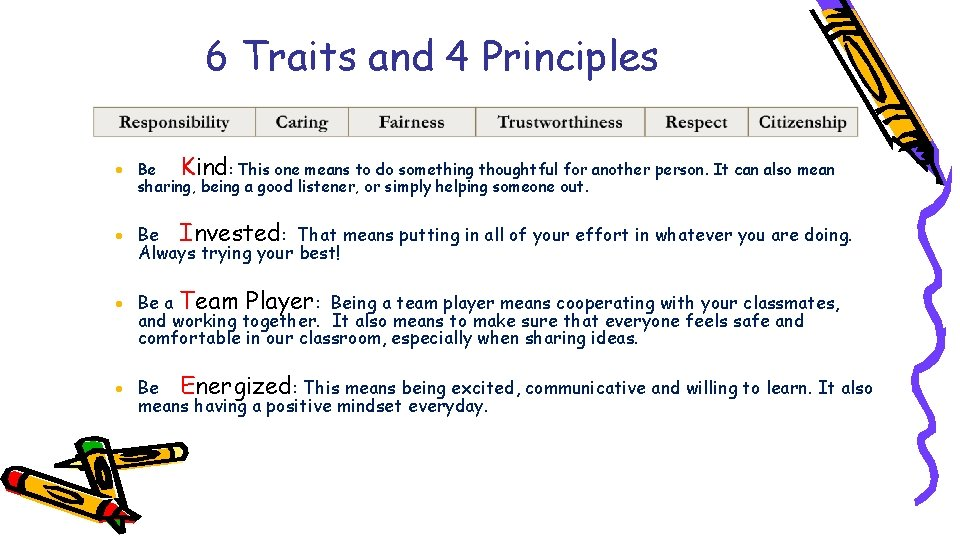 6 Traits and 4 Principles · Be Kind: This one means to do something