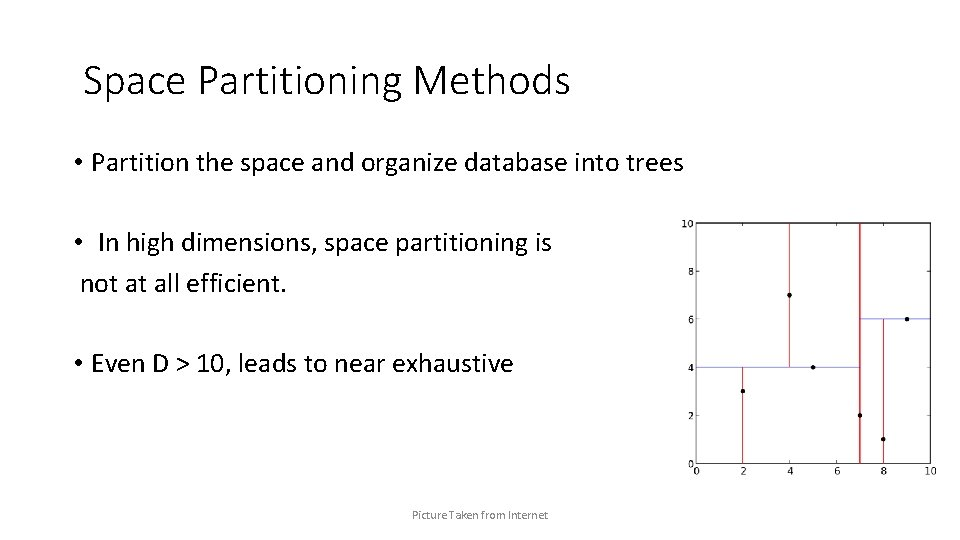 Space Partitioning Methods • Partition the space and organize database into trees • In