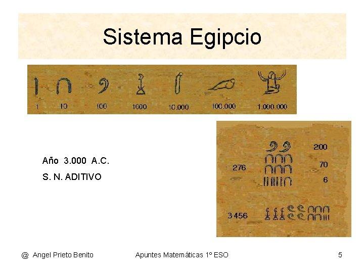 Sistema Egipcio Año 3. 000 A. C. S. N. ADITIVO @ Angel Prieto Benito