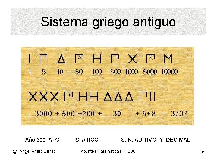 Sistema griego antiguo Año 600 A. C. @ Angel Prieto Benito S. ÁTICO S.