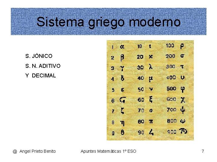 Sistema griego moderno S. JÓNICO S. N. ADITIVO Y DECIMAL @ Angel Prieto Benito