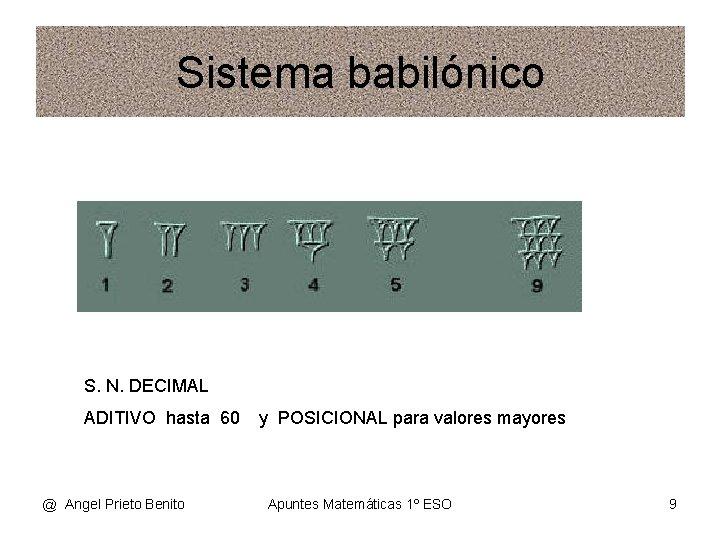 Sistema babilónico S. N. DECIMAL ADITIVO hasta 60 @ Angel Prieto Benito y POSICIONAL
