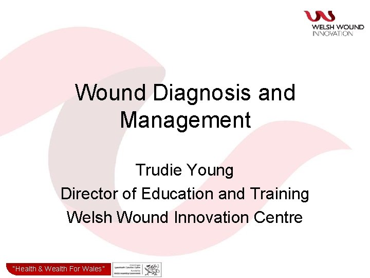 Wound Diagnosis and Management Trudie Young Director of Education and Training Welsh Wound Innovation