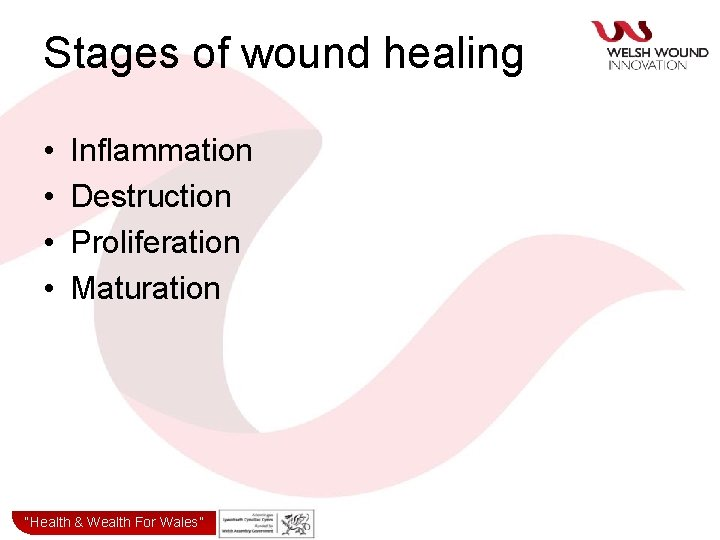 """Stages of wound healing • • Inflammation Destruction Proliferation Maturation """"Health& & Wealth for"""