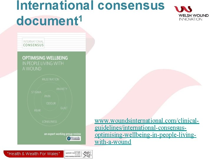 """International consensus document 1 www. woundsinternational. com/clinicalguidelines/international-consensusoptimising-wellbeing-in-people-livingwith-a-wound """"Health& & Wealth for Wales"""" """"Health Wealth"""