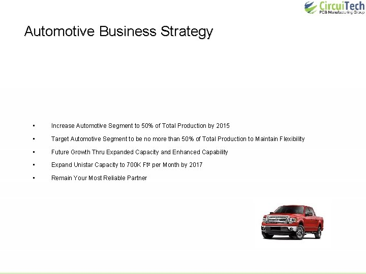 Automotive Business Strategy • Increase Automotive Segment to 50% of Total Production by 2015