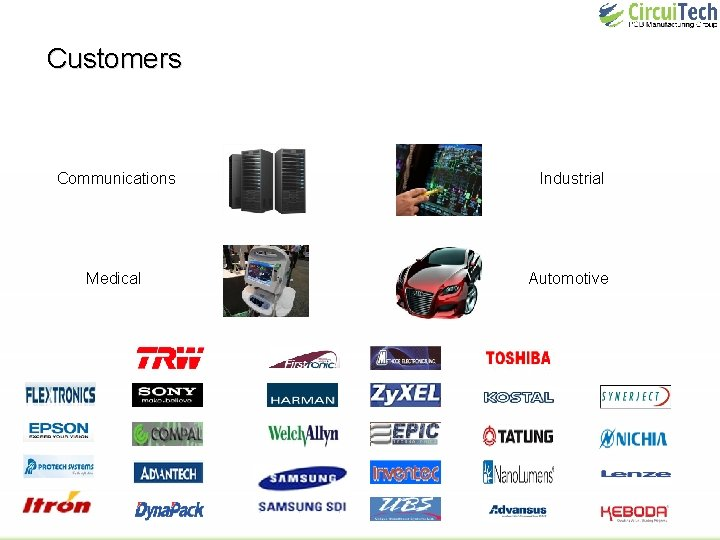 Customers Communications Industrial Medical Automotive
