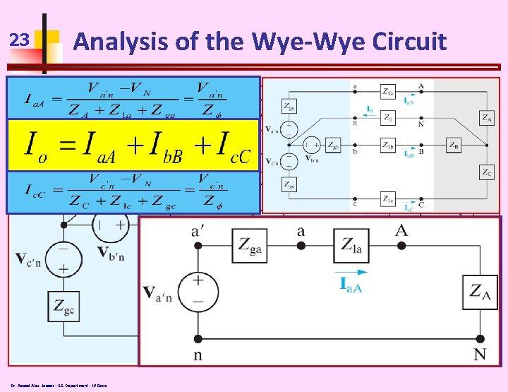 23 Analysis of the Wye-Wye Circuit Va'n = Vb'n= Vc'n Zga=Zgb=Zgc Z 1 a=Z
