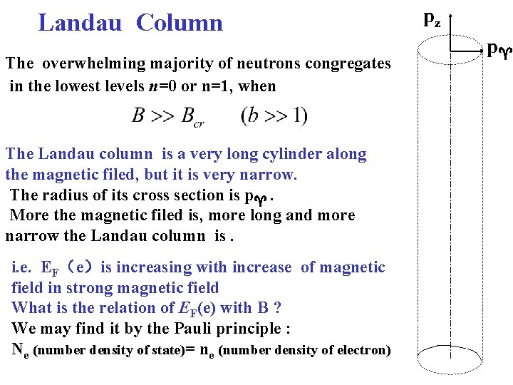 Landau Column The overwhelming majority of neutrons congregates in the lowest levels n=0 or