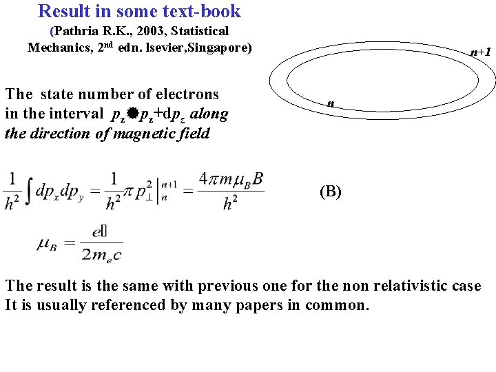 Result in some text-book (Pathria R. K. , 2003, Statistical Mechanics, 2 nd edn.