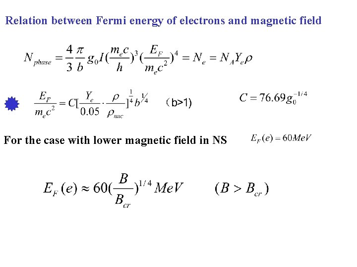 Relation between Fermi energy of electrons and magnetic field For the case with lower