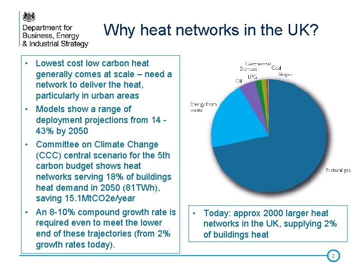 Why heat networks in the UK? • Lowest cost low carbon heat generally comes