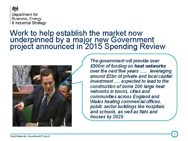 Work to help establish the market now underpinned by a major new Government project