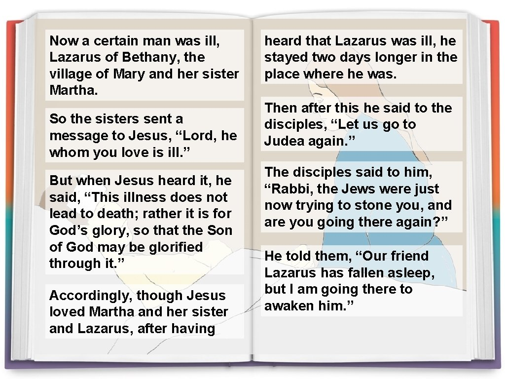 Now a certain man was ill, Lazarus of Bethany, the village of Mary and
