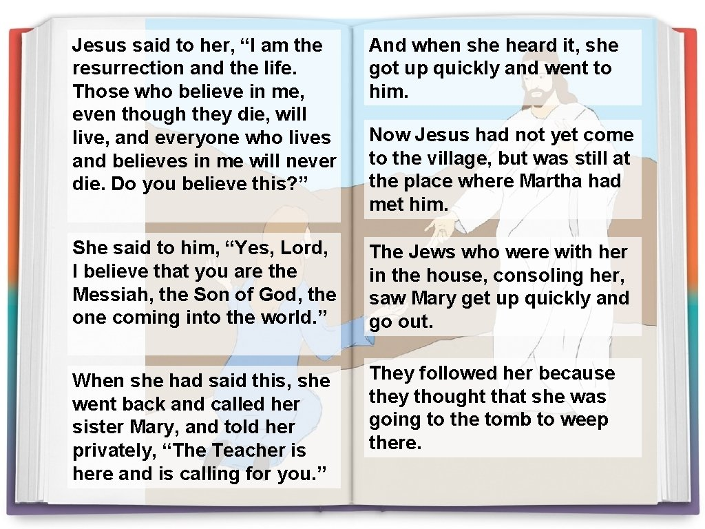 """Jesus said to her, """"I am the resurrection and the life. Those who believe"""