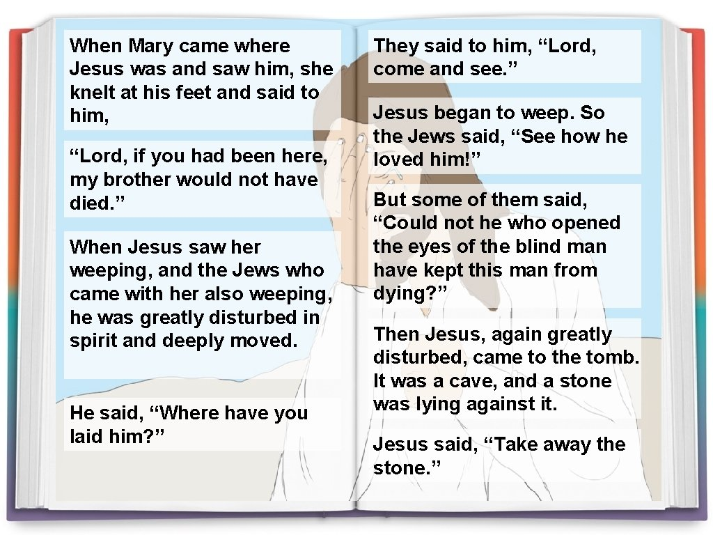 When Mary came where Jesus was and saw him, she knelt at his feet