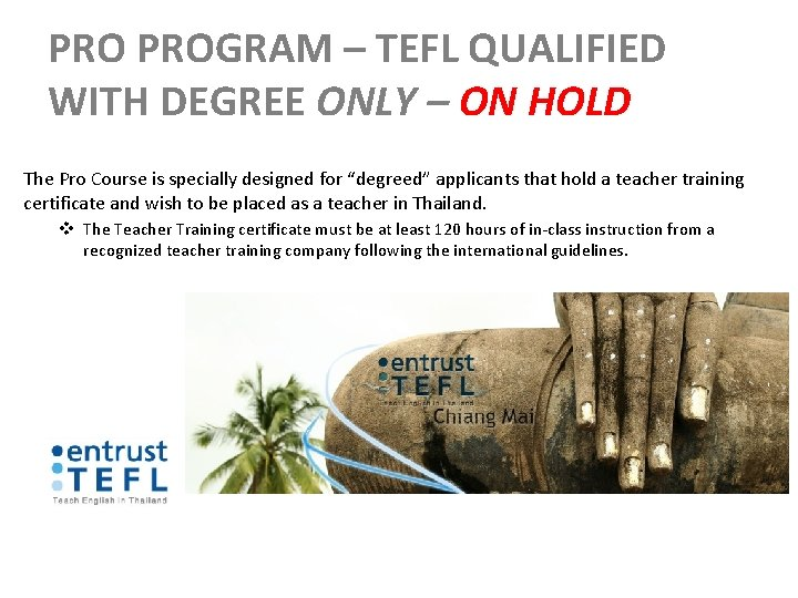 PRO PROGRAM – TEFL QUALIFIED WITH DEGREE ONLY – ON HOLD The Pro Course