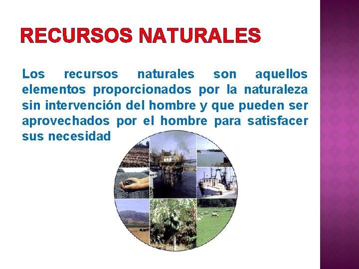 RECURSOS NATURALES Los recursos naturales son aquellos elementos proporcionados por la naturaleza sin intervención