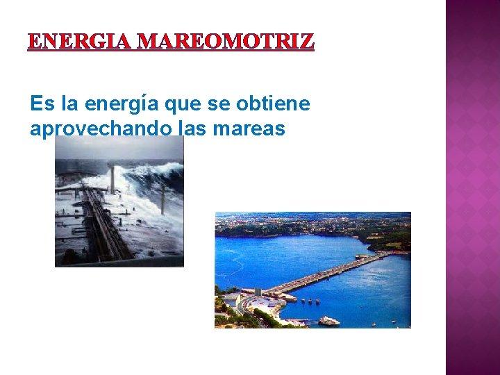 ENERGIA MAREOMOTRIZ Es la energía que se obtiene aprovechando las mareas