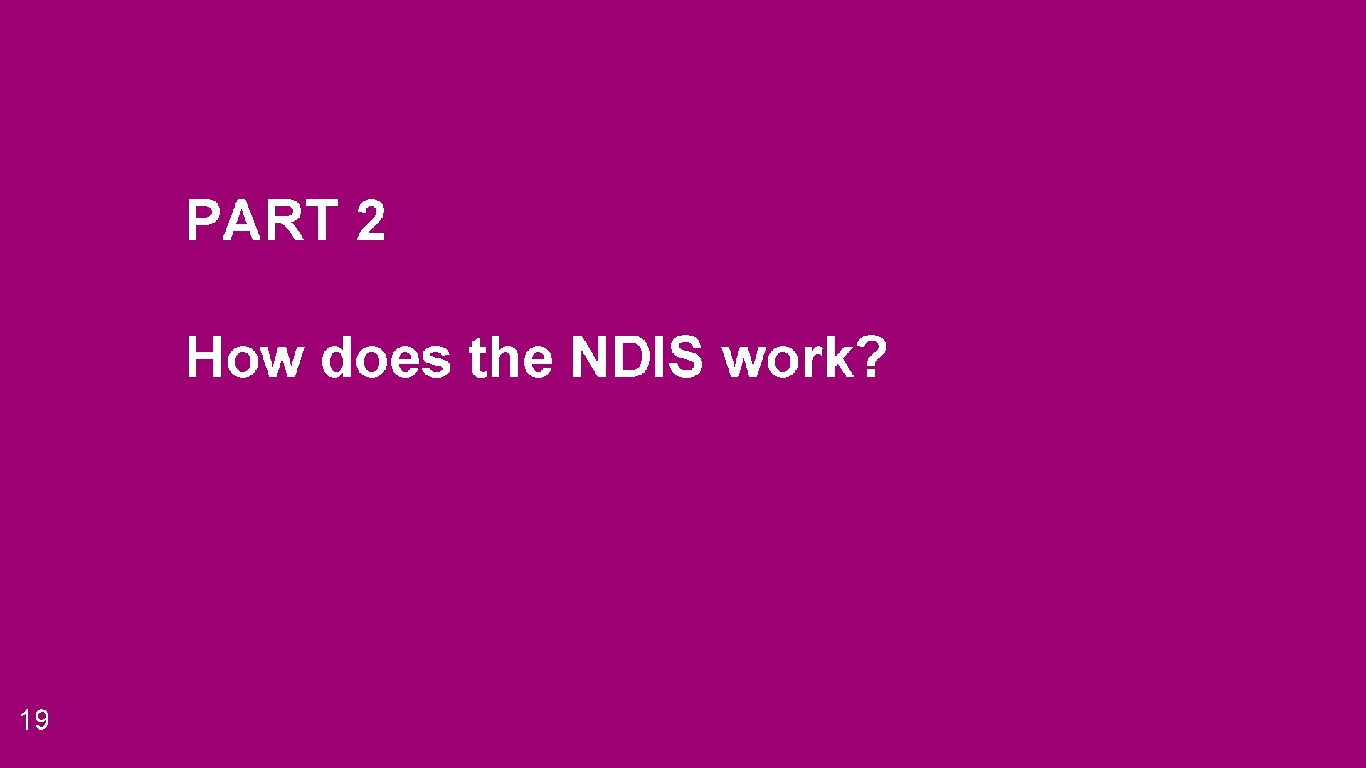 PART 2 How does the NDIS work? 19