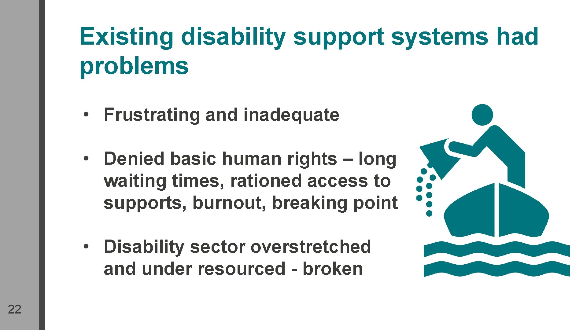 Existing disability support systems had problems • Frustrating and inadequate • Denied basic human