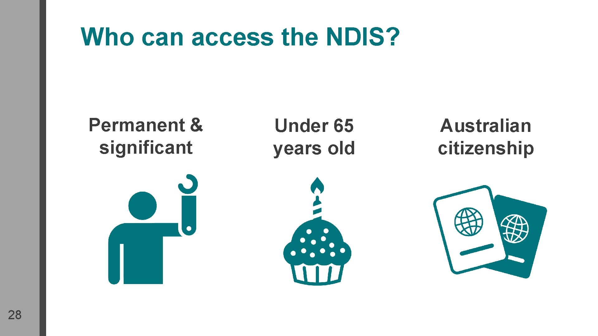 Who can access the NDIS? Permanent & significant 28 Under 65 years old Australian