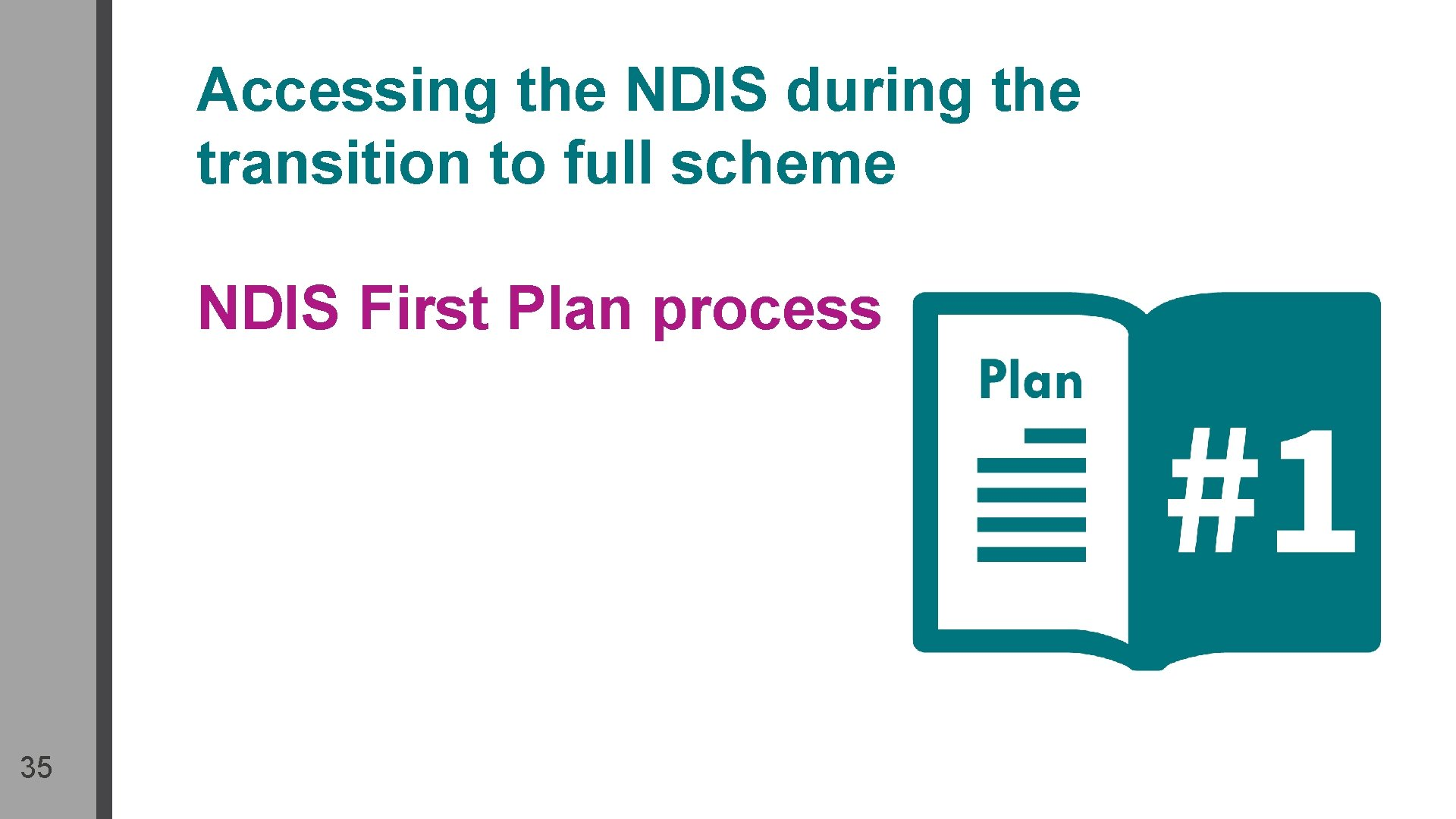 Accessing the NDIS during the transition to full scheme NDIS First Plan process 35