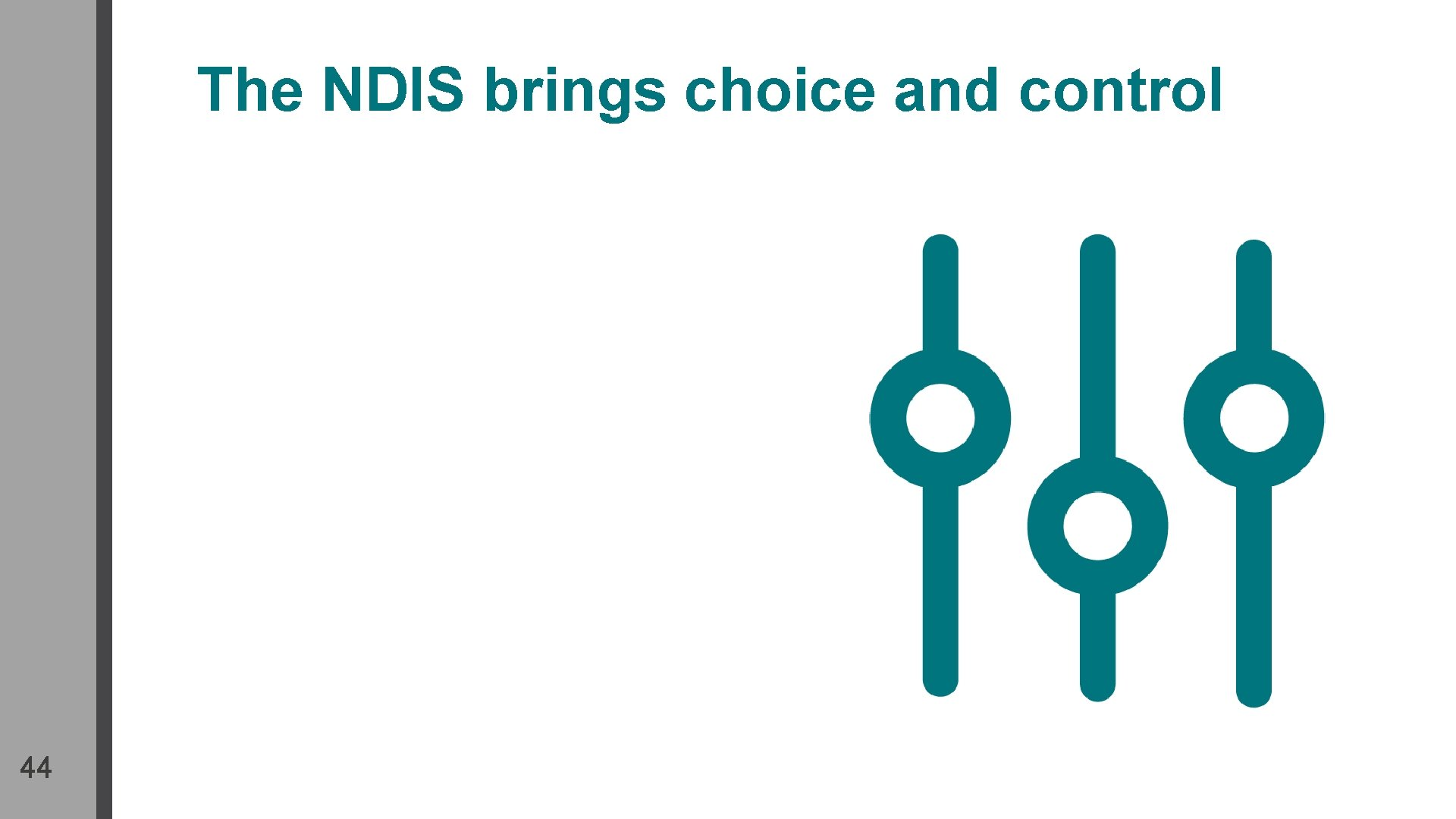 The NDIS brings choice and control 44